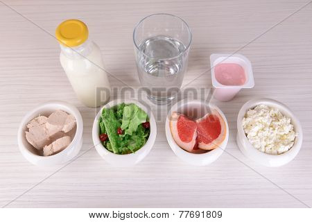 Dietary food in on table close-up