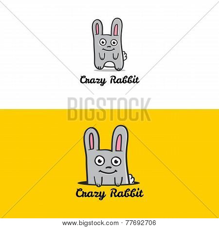 Vector funny cartoon rabbit mascot logotype