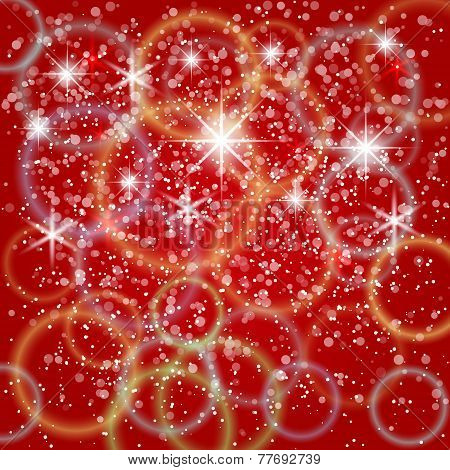 Vector abstract red background with bokeh and particles