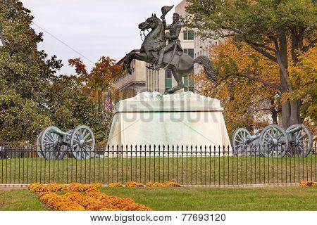 Jackson Statue Canons Lafayette Park Autumn Pennsylvania Ave Washington Dc