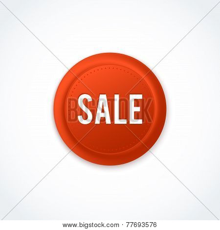 Red sale round badge. Vector illustration.