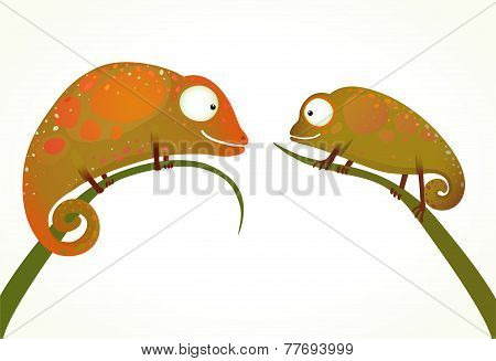 Two Colorful Lizards Sitting on Grass Animal Cartoon