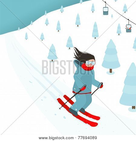 Young Brightly Equipped Girl Slides from Mountain Slope