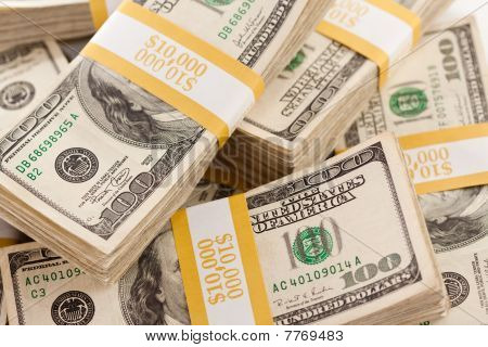 Stacks Of One Hundred Dollar Bills