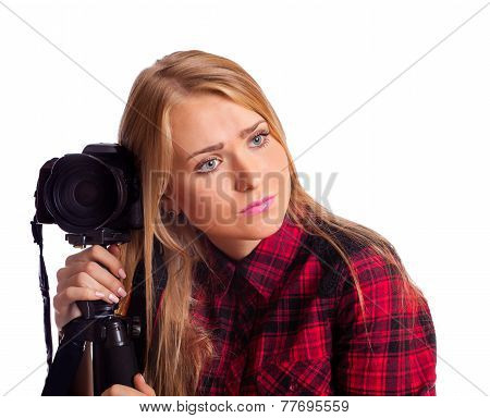 Female photographer tired doing photos