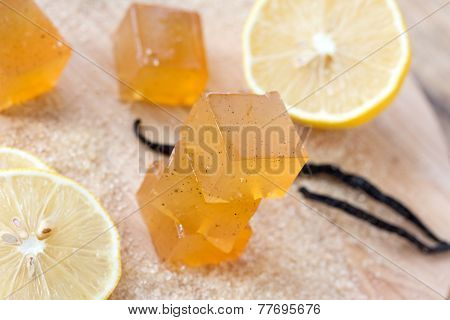 Lemon jujube, marmalade, candied fruite jelly on a wooden table