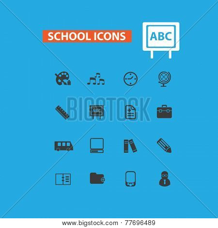 school, e-learning icons, signs set, vector