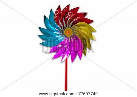 Colorful Pinwheel, Isolated On White Background