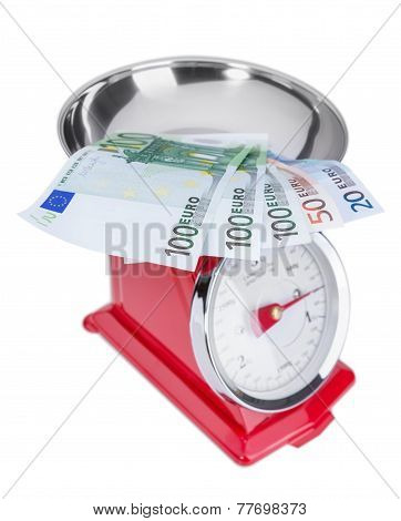 Euro Banknotes On The Scales. Inflation Euros.