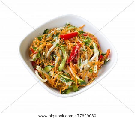 Asian Style Salad With Fresh Vegetables And Spicy Dressing