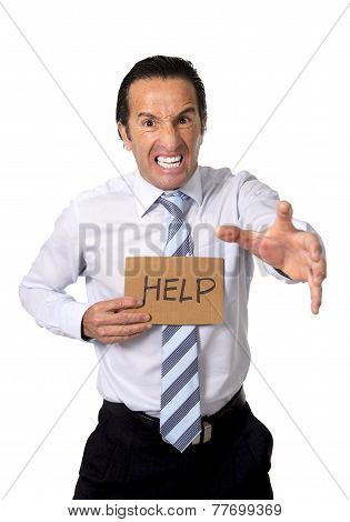 Senior Businessman Holding Help Sign In Overwork, Work Stress And Exploitation Concept