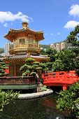 stock photo of hong kong bridge  - Golden pavilion at Diamond Hill in Hong Kong - JPG