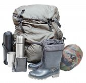 stock photo of sleeping bag  - set of camping equipment with backpack gumboots thermos knife flask can sleeping bag isolated on white background - JPG