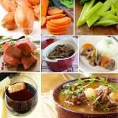 image of boeuf  - collage ingredients for meat beef goulash  - JPG