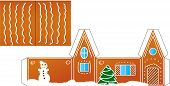 picture of gingerbread house  - Gingerbread  house folded model paper - JPG