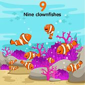 stock photo of clown fish  - Illustrator of number with nine clown fish - JPG