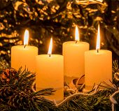 foto of mood  - an advent wreath for christmas ensures romatinsche mood in the silent advent - JPG