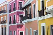 picture of san juan puerto rico  - Beautiful buildings in Old San Juan representing the colorful colonial style architecture of Puerto Rico - JPG