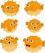 stock photo of animated cartoon  - Illustrator of puffer fish smile and fun - JPG