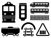 image of railroad car  - black isolated objects for rail road icons set - JPG