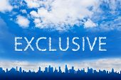 stock photo of exclusive  - Exclusive text on cloud with blue sky - JPG