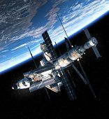 foto of orbital  - Space Shuttle And Space Station Orbiting Earth - JPG