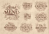 foto of whiskey  - Set alcohol menu beverages lettering names in retro style vodka - JPG
