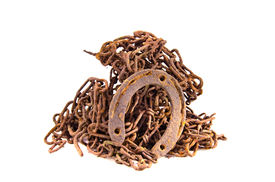 stock photo of scrap-iron  - rusty iron metal scrap isolated on white background - JPG