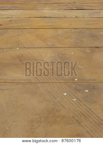 Rusty Steel Panel With Tire Mark