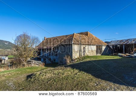 Landscape With Old Farm House In Seigne Des Alps