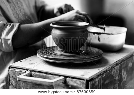 Pottery Craft Ceramic Clay In Potter Human Hand. Toned Instant Photo
