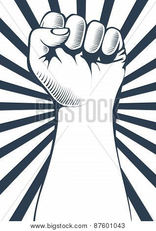 Vector illustration of a clenched fist held high in protest.