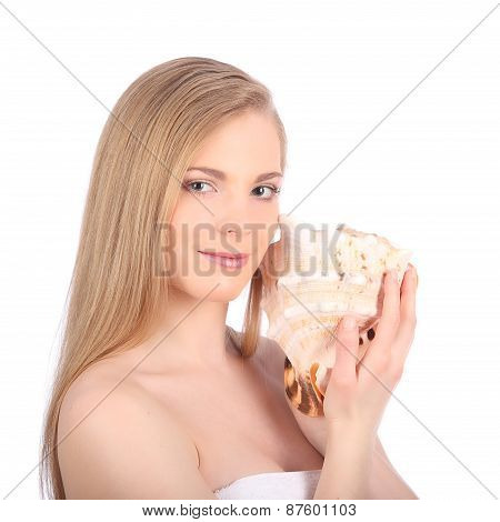 Young Pretty Woman With Seashell, Closeup Female Face Portrait