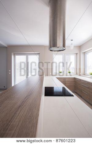 Wooden Worktop In Bright Kitchen