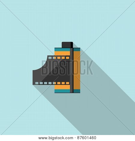Photo film in cartridge. Flat vector illustration.