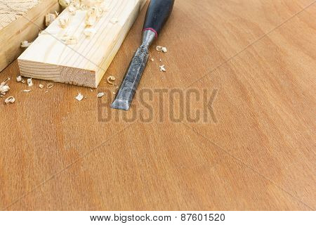 Joiner Chisel With Boards And Shavings