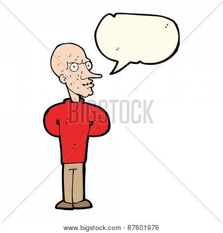 cartoon evil bald man with speech bubble