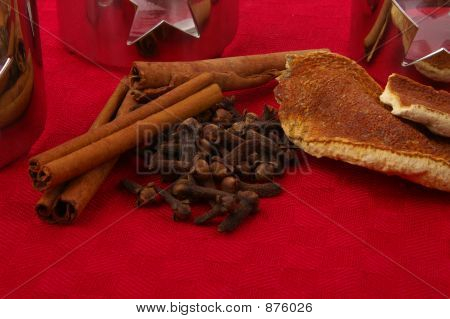 Ingredients For Mulled Wine On Red Cloth