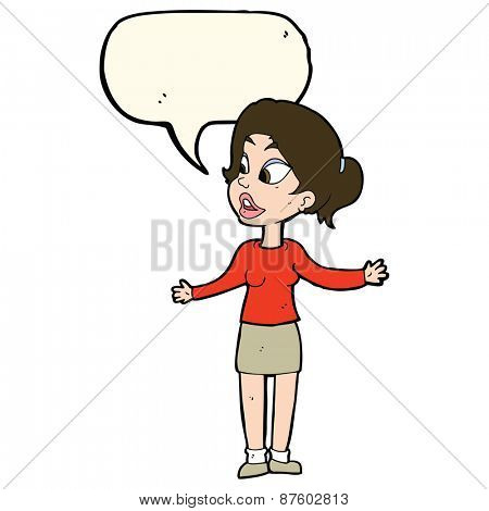 cartoon pretty woman explaining something with speech bubble