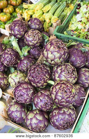 Fresh artichokes on a market in Italy