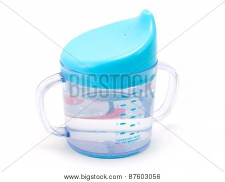 Blue Baby sippy cup isolated
