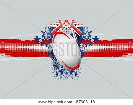 Rugby Ball On A Grunge Background With Flag