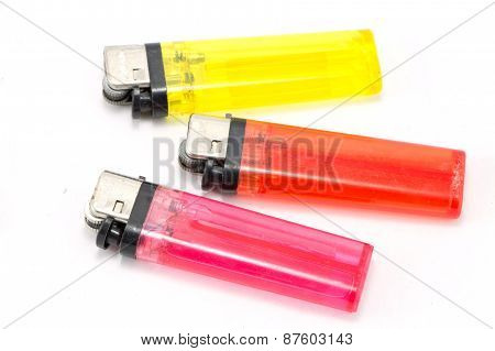 Plastic lighter colorful isolated on white Background