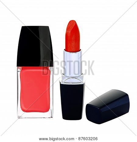 Red Nail Polish And Lipstick On White Background
