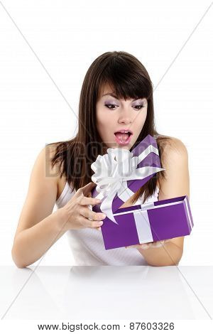 beautiful girl receives a surprise gift