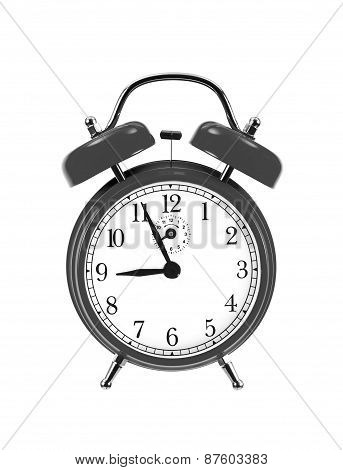 Black Bell Clock (alarm Clock) Isolated On White Background