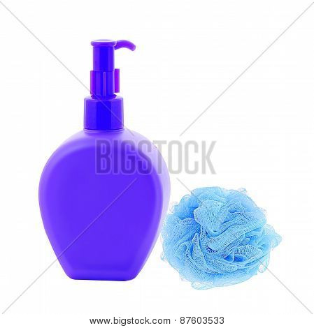 Wisp And Bottle Of Liquid Soap Isolated On White