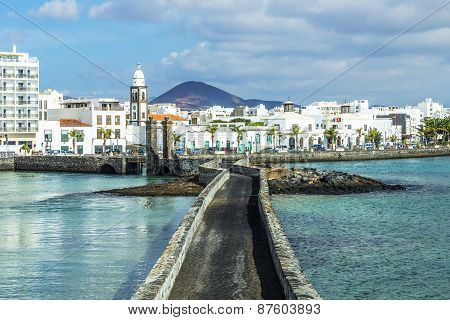 Sea View At Castle Of San Gabriel And Arrrecife, Lanzarote, Canary Islands