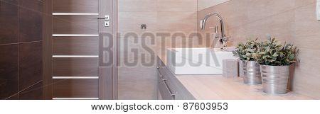 Metal Flower Pot In Modern Bathroom