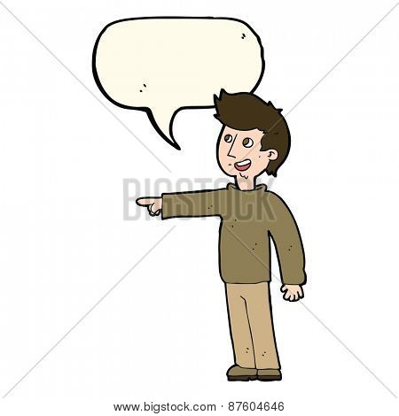cartoon happy man pointing and laughing with speech bubble